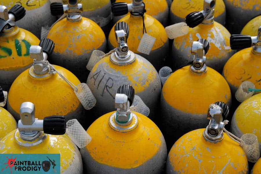 compressed air tanks for a paintball gun