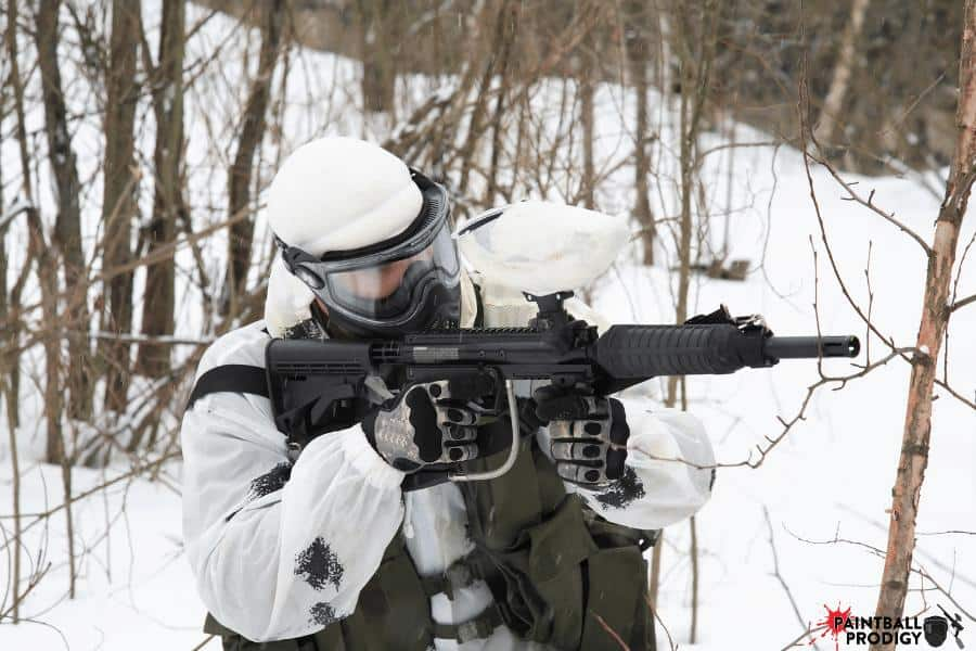 playing paintball in the winter