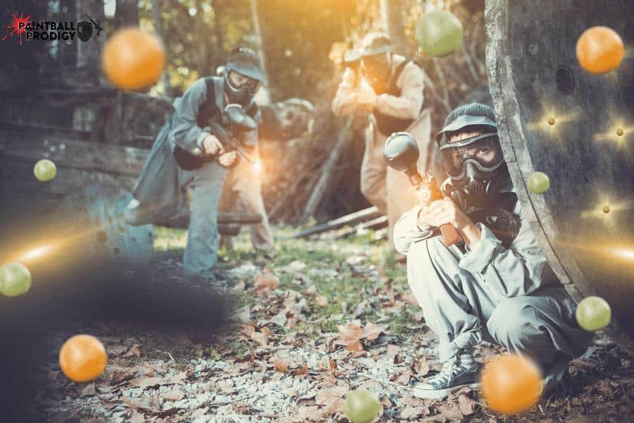 Spraying paintballs at a single target.