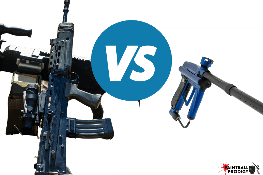 comparison between airsoft and paintball guns