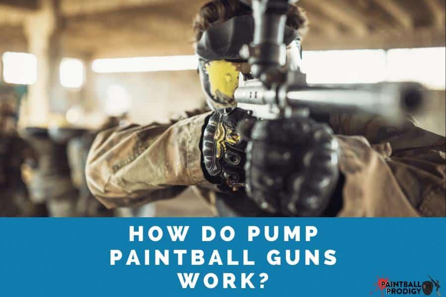 pump paintball gun in action